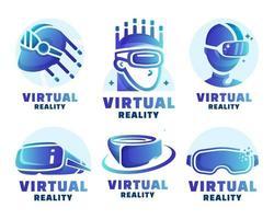 collezione di logo di realtà virtuale sfumata vettore