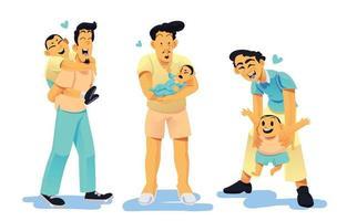 collezione di personaggi padre e figlio vettore