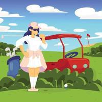 giovane donna che gioca a golf design vettore