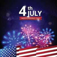 4 luglio sfondo di fuochi d'artificio vettore