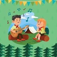 ragazzo a suonare la chitarra con la sua amica durante il concetto di campo estivo vettore