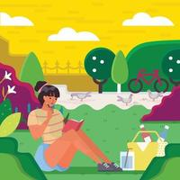 donna legge un libro nel parco sul suo concetto di tempo libero vettore