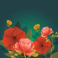 fiore rosso in fiore bckground vettore