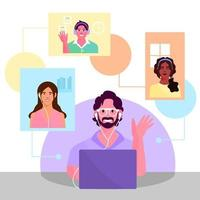 illustrazione di discussione virtuale vettore