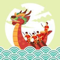 festival cinese della barca del drago vettore