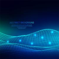 Fondo blu luminoso astratto dell'onda di tecnologia vettore