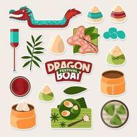 collezione di adesivi del festival della barca del drago vettore