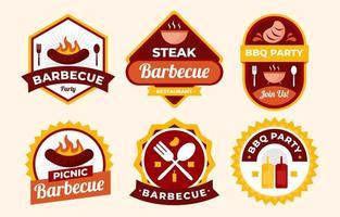 set di badge per barbecue da picnic vettore