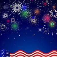 4 luglio illustrazione di fuochi d'artificio vettore