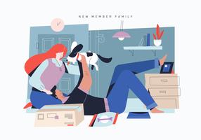 Amante dell'animale domestico che adotta cane sveglio come illustrazione piana di vettore della nuova famiglia membro