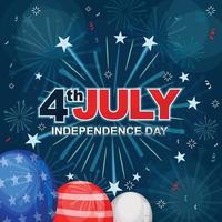 giorno dell'indipendenza 4 luglio fuochi d'artificio vettore