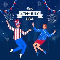 celebra il giorno dell'indipendenza americana con fuochi d'artificio vettore