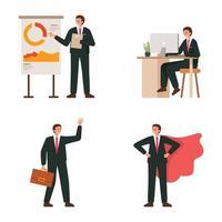 carattere di uomini d'affari con pose diverse vettore
