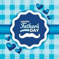 illustrazione del distintivo dell'etichetta di festa del papà con tessuto e baffi vettore
