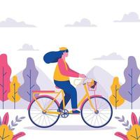 in bicicletta nell & # 39; illustrazione delle montagne vettore