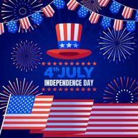 concetto di fuochi d'artificio del giorno dell'indipendenza vettore