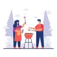 illustrazione di picnic barbecue vettore