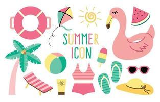 set di icone di attività spiaggia estiva vettore