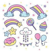 set di adesivi arcobaleno dolce e carino vettore
