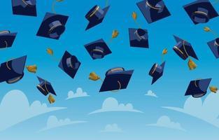 gettando sfondo di laurea cappelli vettore