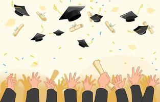 graduazione gettando sfondo cappello vettore