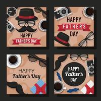 carta di festa del papà piatto felice vettore