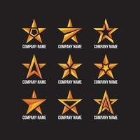 vari fantastici logo a forma di stella dorata vettore