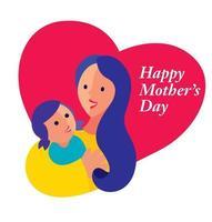 felice festa della mamma con madre e figlia che abbracciano insieme sullo sfondo di amore vettore
