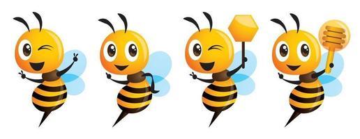 cartone animato carino serie di api che mostra il segno di vittoria tenendo il mestolo di miele e il favo vettore
