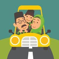 padre musulmano che guida insieme sulla strada con la famiglia vettore
