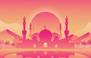 bellissimo sfondo rosa moschea vettore