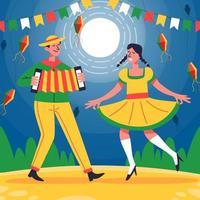 una coppia balla e canta nella notte di festa junina vettore