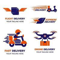 set di logo di consegna moderna vettore