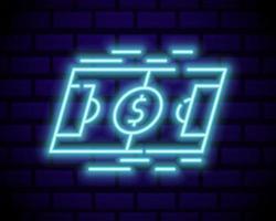insegna al neon di scommesse online. scommesse sportive. logo delle scommesse online, simbolo al neon, banner luminoso, pubblicità notturna brillante, gioco d'azzardo, casinò. vettore isolato sul muro di mattoni
