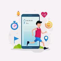 illustrazione di vettore di concetto di design di app tracker fitness