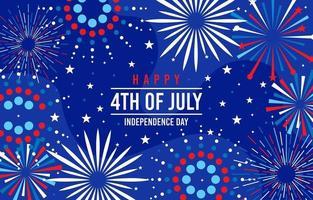fuochi d'artificio che esplodono festeggiano il 4 luglio vettore