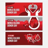 raccolta di banner per la donazione di sangue mondiale vettore
