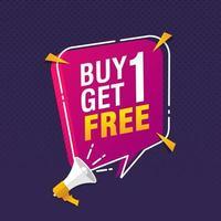 paghi uno prendi due vendita gratuita banner sconto tag design template illustrazione vettoriale