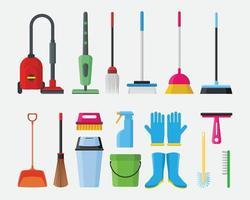 illustrazione di vettore dell'elemento dell'oggetto dell'attrezzatura degli strumenti di servizio di pulizia