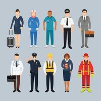 persone con diverse professioni carattere illustrazione vettoriale