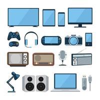 set di gadget design piatto e dispositivo elettronico per il business vettore