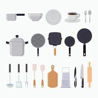 illustrazione di vettore piatto di elementi grafici di utensili da cucina