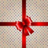Sfondo regalo con nastro rosso vettore