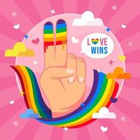 segno della mano di pace per celebrare il concetto di giorno dell'orgoglio vettore