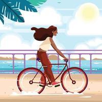 ragazza felice in bicicletta sul concetto di giorno d'estate vettore