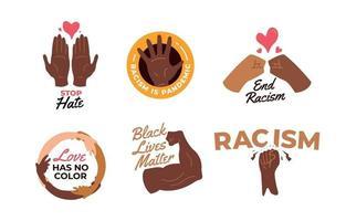collezione di badge di movimento di materia di vita nera vettore