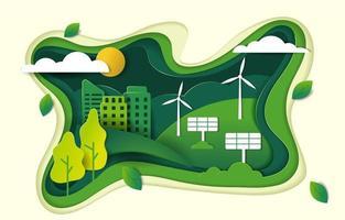 illustrazione di tecnologia verde tagliata carta vettore