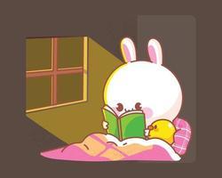 felice simpatico coniglio con anatra leggendo il libro a letto fumetto illustrazione vettore