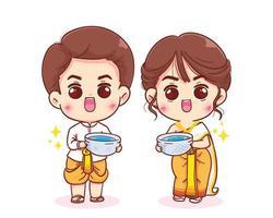 le coppie felici godono del festival di songkran nell'illustrazione disegnata a mano del fumetto del vestito tradizionale vettore