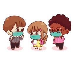 bambini svegli tornano a scuola con l'illustrazione del fumetto delle maschere mediche vettore